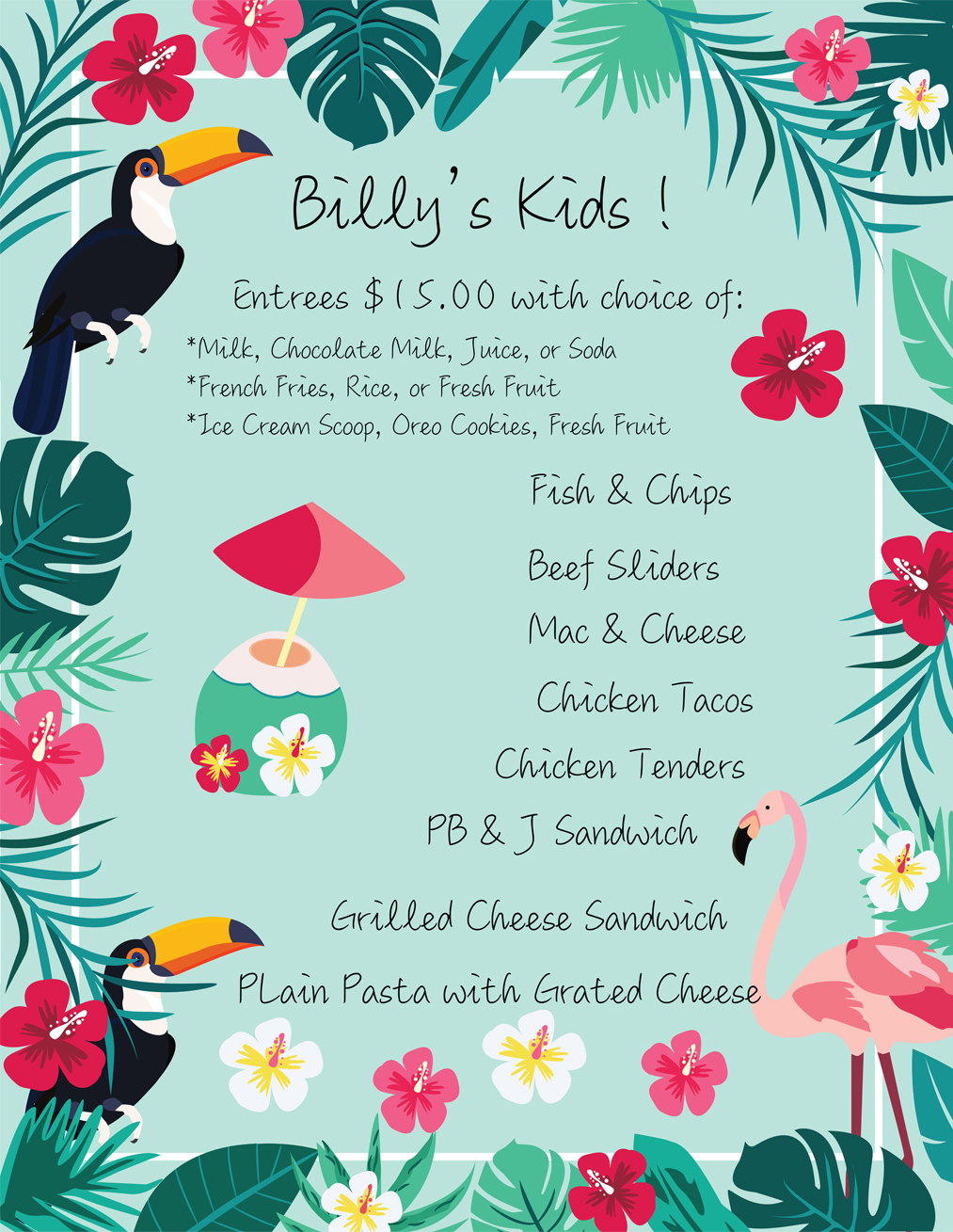 Billy's at the Beach, Newport Beach, California, Kids Menu.jpg