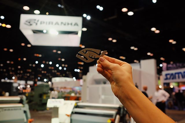 Need a metal piranha? These are awesome show giveaways from @piranhafab's booth in A. #fabtech2017 #fabtech #metalfab