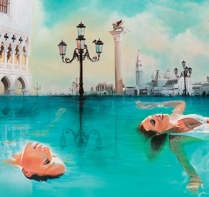 SLOWLY LIKE VENICE, I AM SINKING   66 x 40 inches, oil on canvas, 2012 Private Collection    Inspired from a visit to Venice:The water level was so high it was flooding St. Mark's Square. The title is inspired from a poem written by Gabriel Rosenstock.