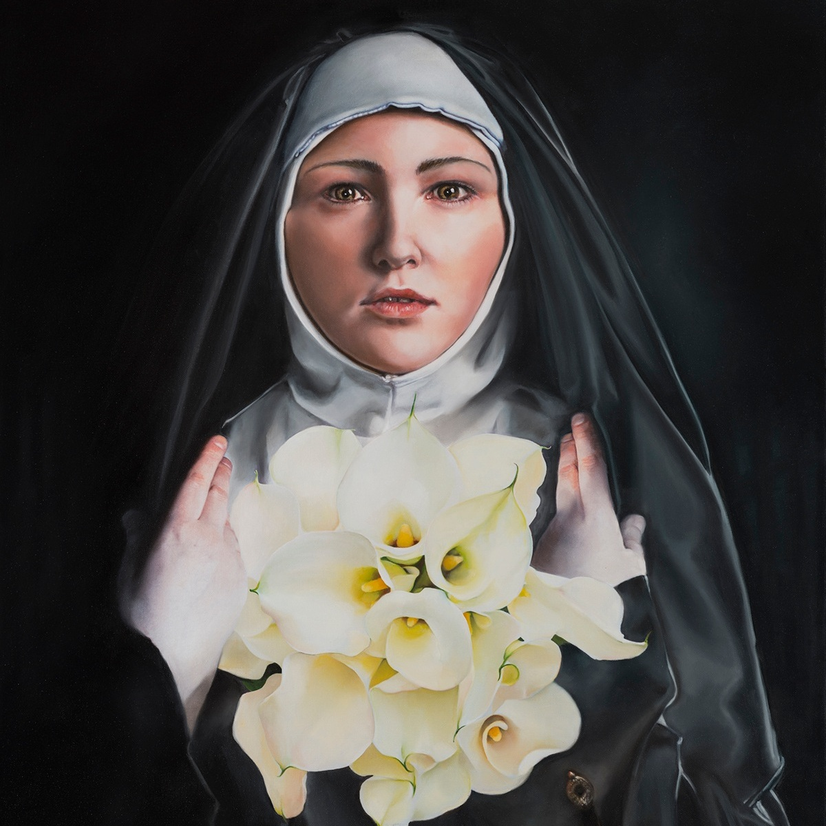 AMONG THE WHITE LILIES   28 x 35 inches, oil on canvas, 2018     Inspired from the story of Saint Theresa.
