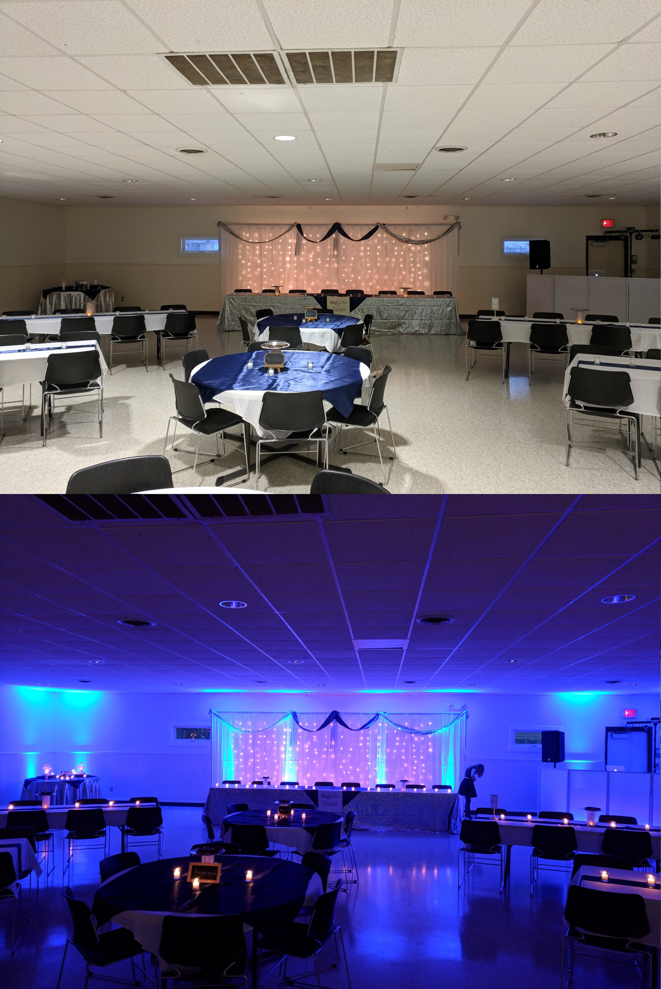 Before and After Uplighting