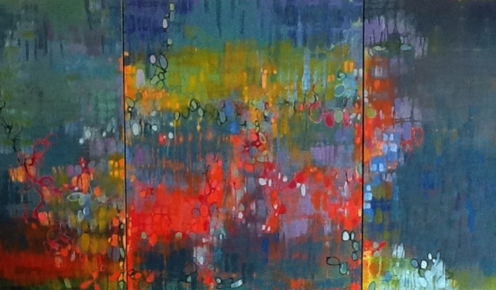 """Good Neighbors,"" 60"" x 144"" acrylic on canvas triptych (SOLD)"
