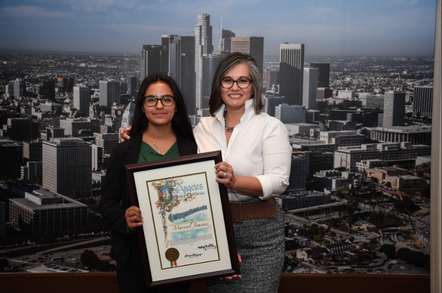 Marisol Jimenez (Left) and Los Angeles City Councilwoman Monica Rodriguez (Right) at The Latinas in STEM Breakfast, held at Los Angeles City Hall on October 2, 2018.