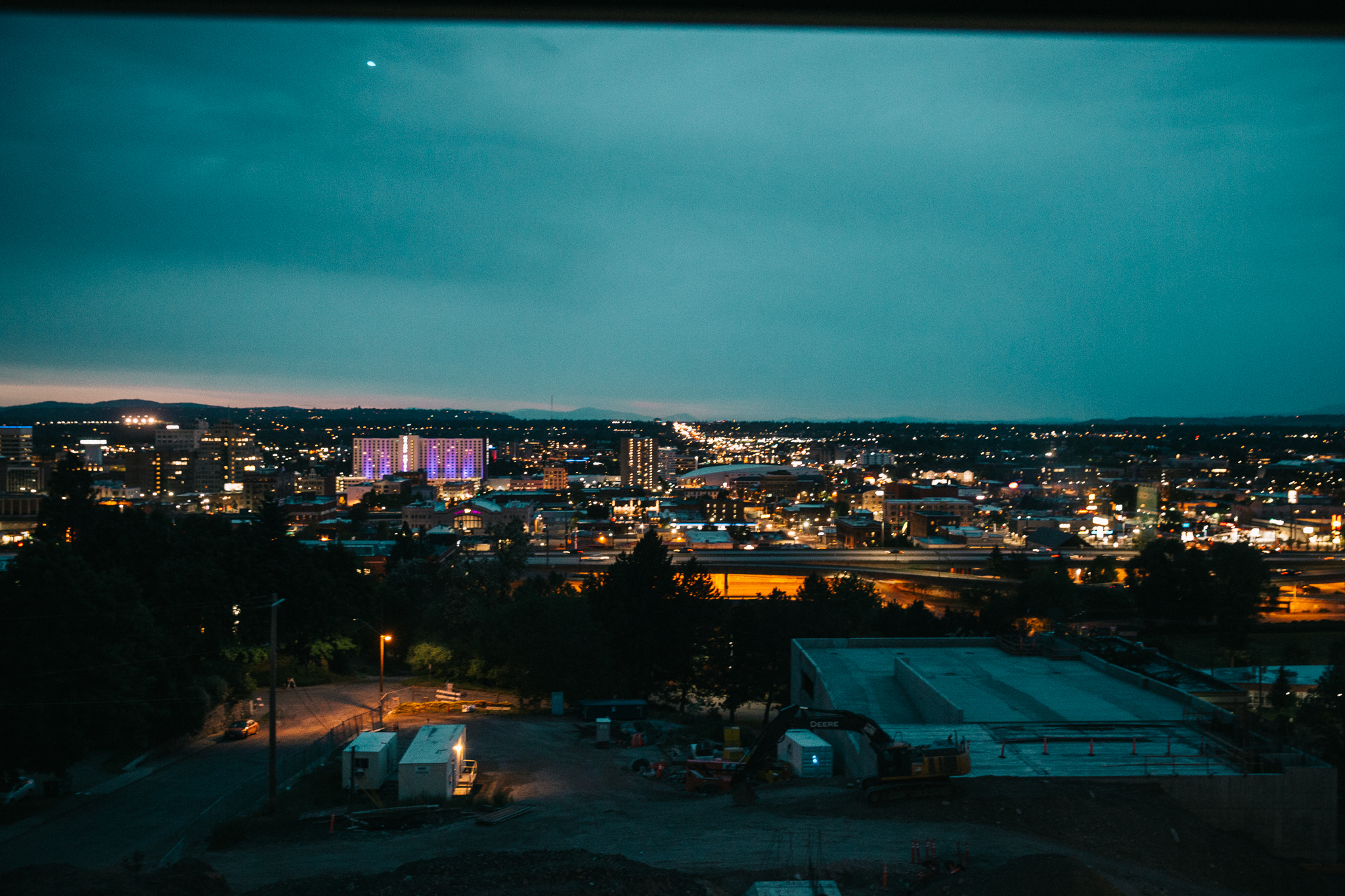 The view of Downtown Spokane from our hospital room