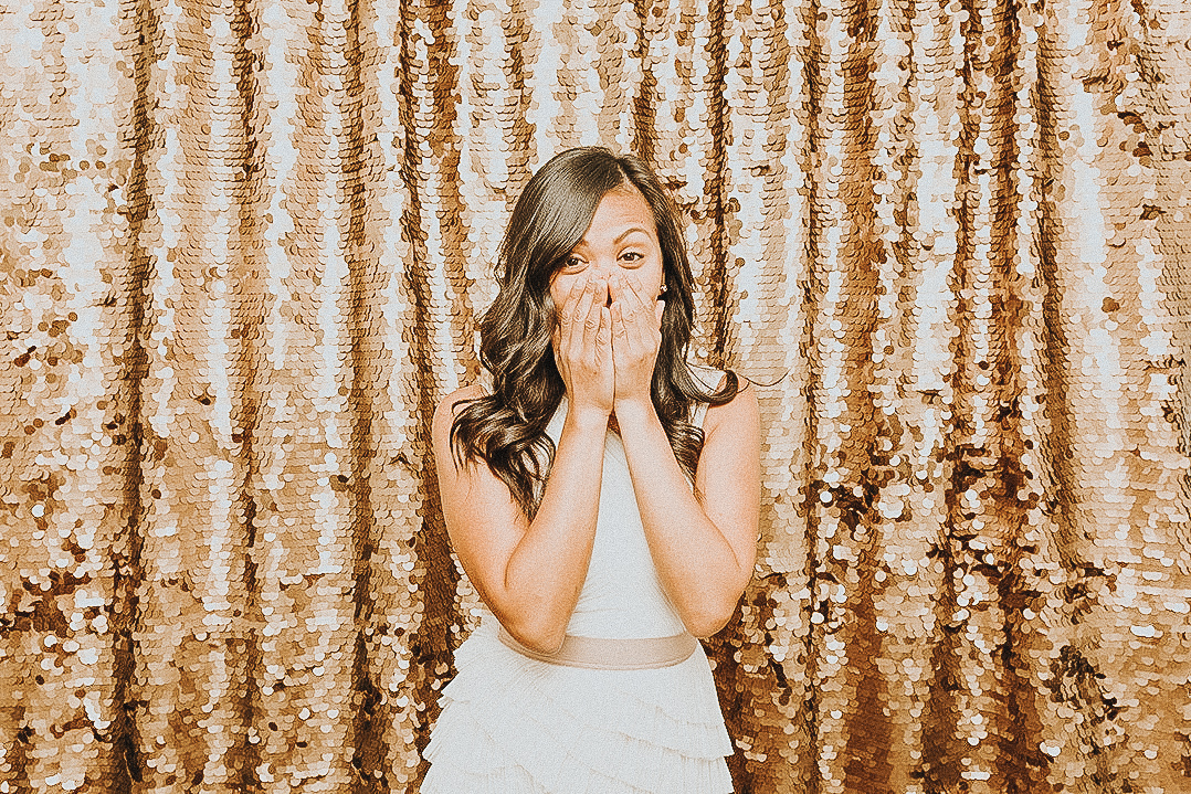 Gold Sequin Photobooth backdrop.