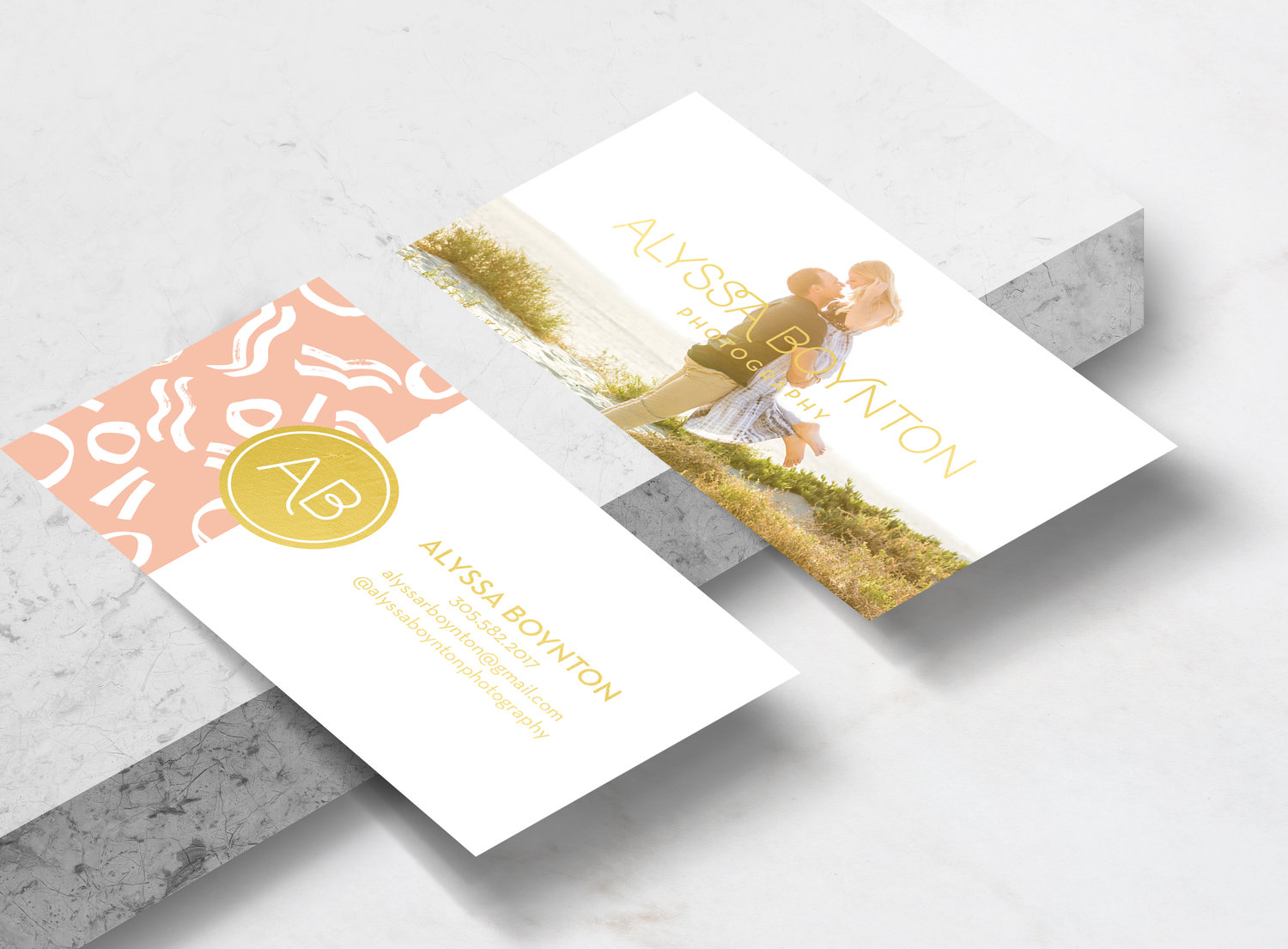Pretty fun playful whimsical modern contemporary clean feminine girly pink peach coral salmon business cards for a wedding photographer, designed by Gretchen Kamp in San Diego. To view the full business branding project, click here: http:.//www.gretchenkamp.com/alyssa-boynton-photography