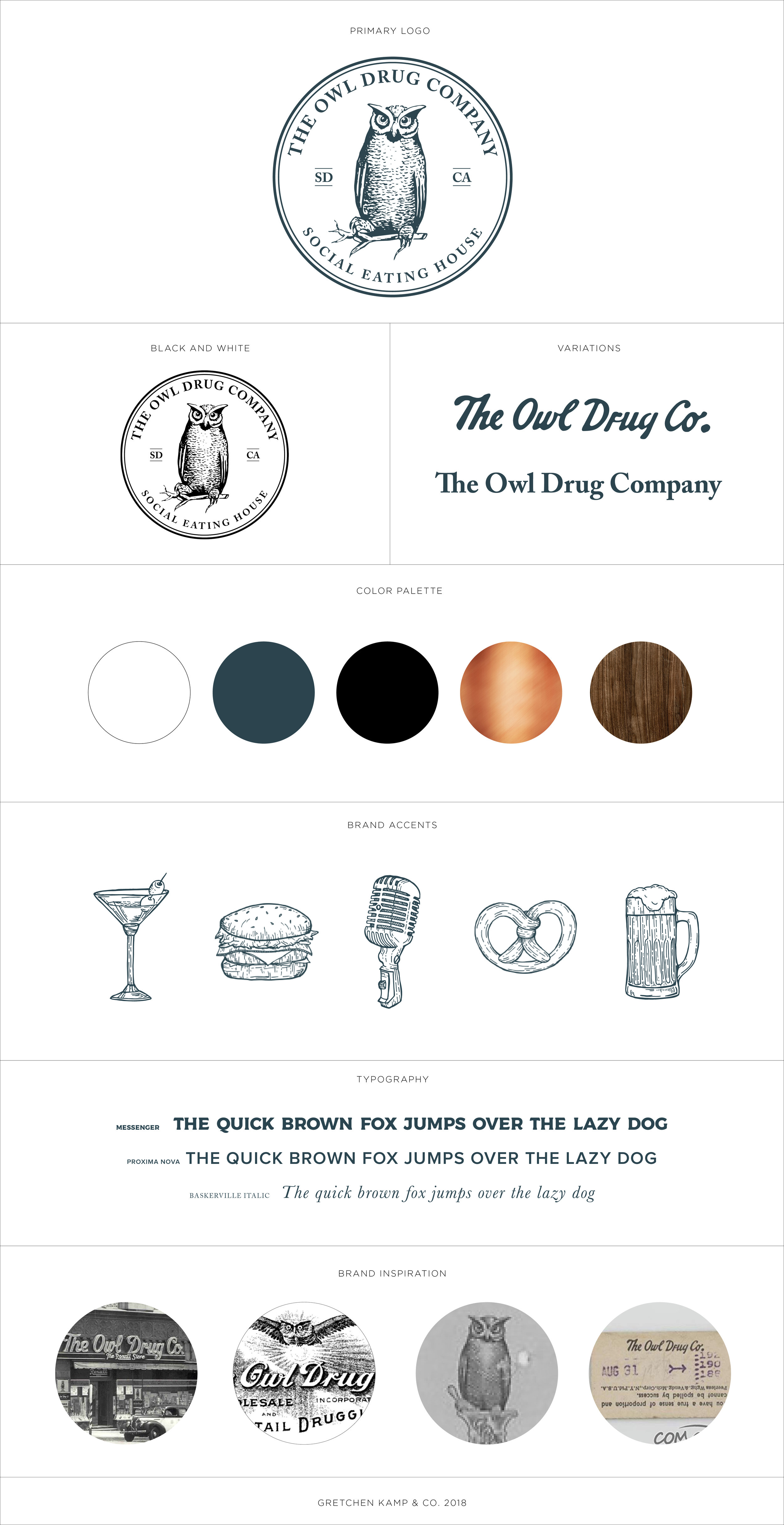 The Owl Drug Co. Social Eating House Brand Identity by Gretchen Kamp in San Diego, CA