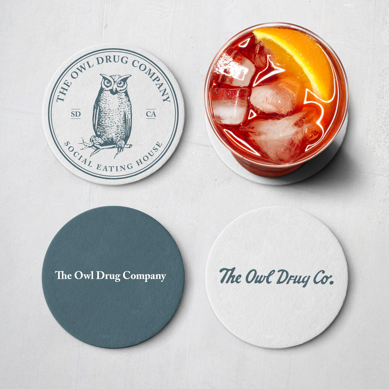 Owl Drug Co Coasters by Gretchen Kamp