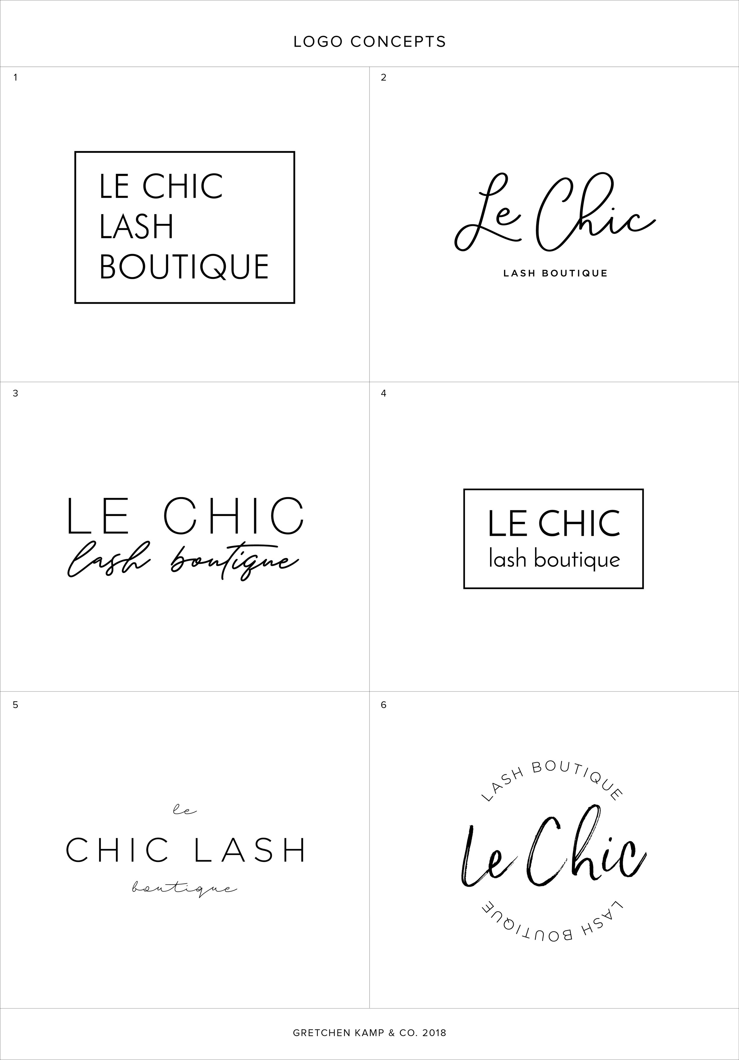 Le Chic Lash Boutique Logo Concepts by Gretchen Kamp