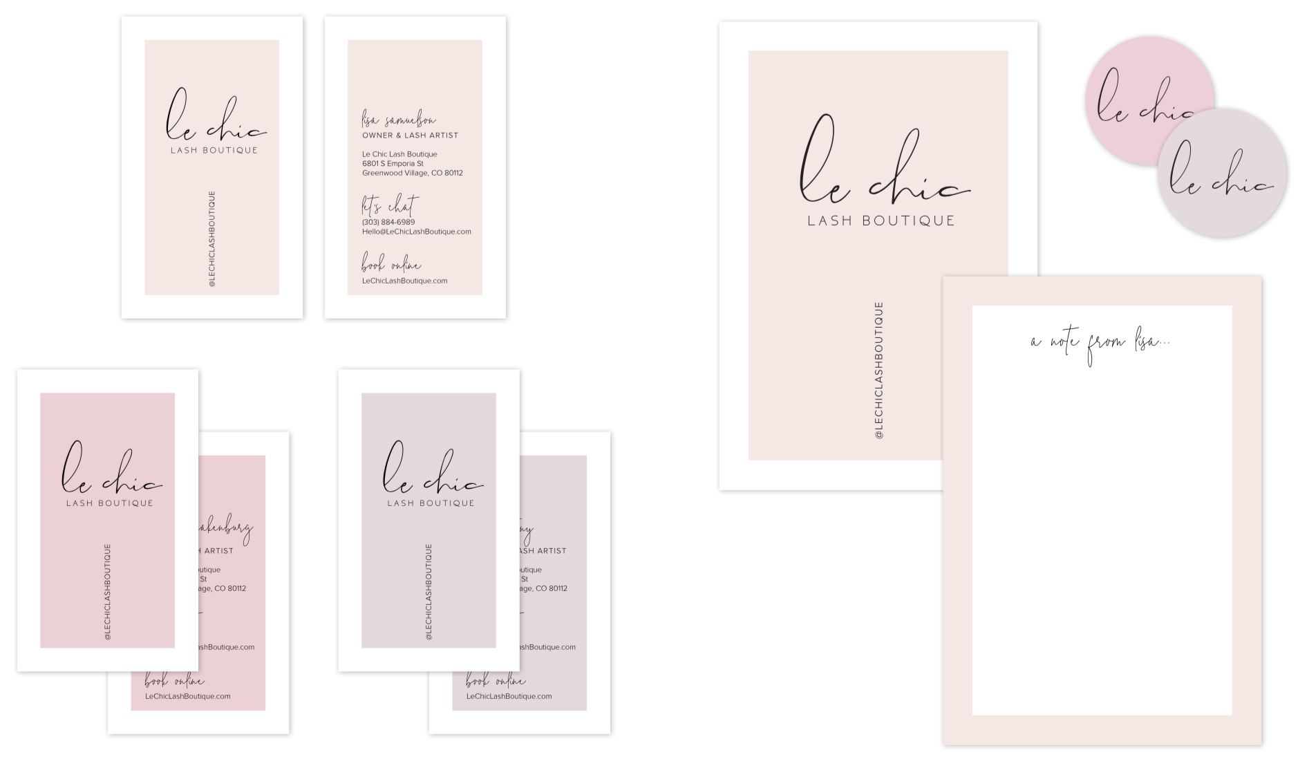 Stationery System for Le Chic Lash Boutique by Gretchen Kamp