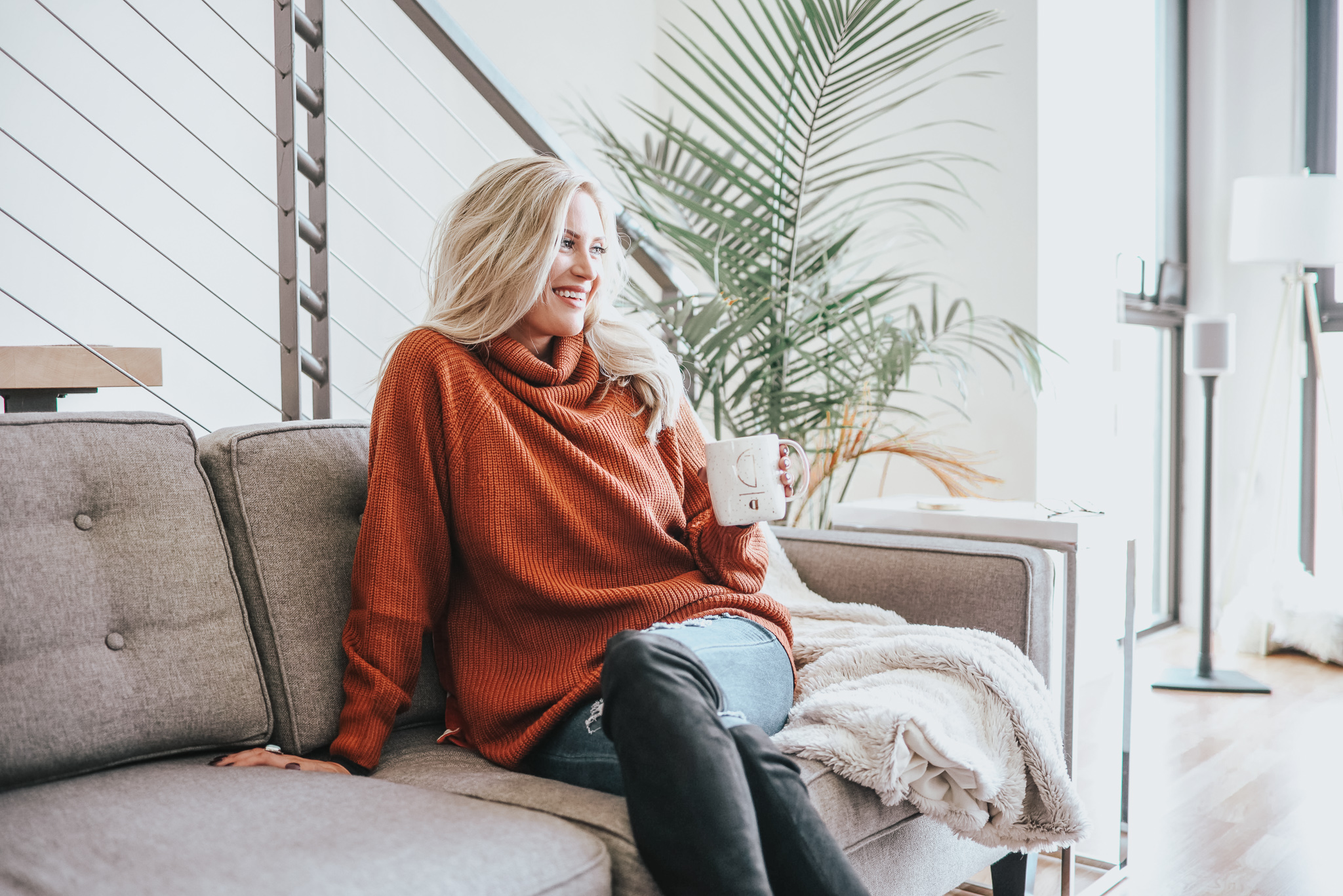 Burnt orange sweater; cute but a little too seasonal