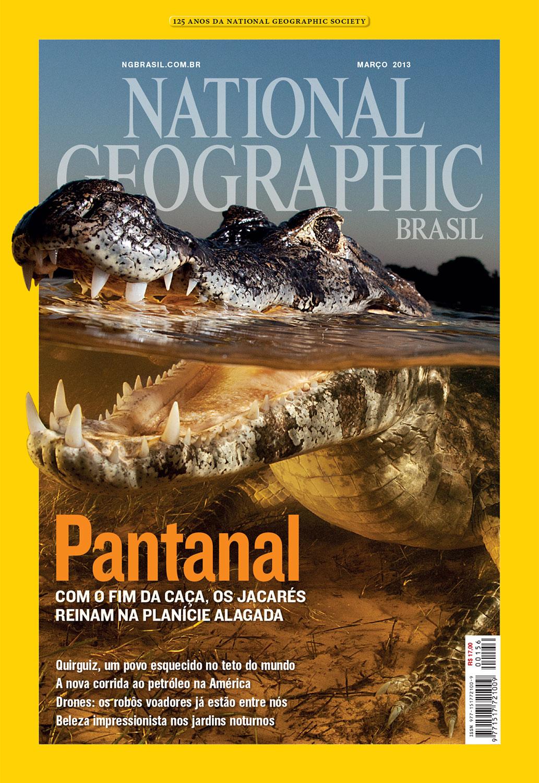 Edição de fotos e design de capa   NG Brasil, março 2013. Foto de Luciano Candisani