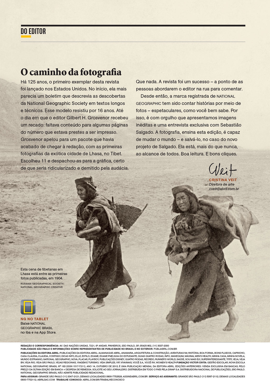Texto para carta do editor   NG Brasil, outubro 2013.