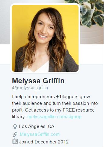 Melyssa Griffin's Twitter bio. Find her on Twitter at  https://twitter.com/melyssa_griffin