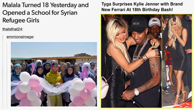 Popular internet meme comparing how Malala Yousafzai and Kylie Jenner spent their 18th birthdays. The school for Syrian refugee girls was built by the Kayany Foundation with a grant from The Malala Fund.