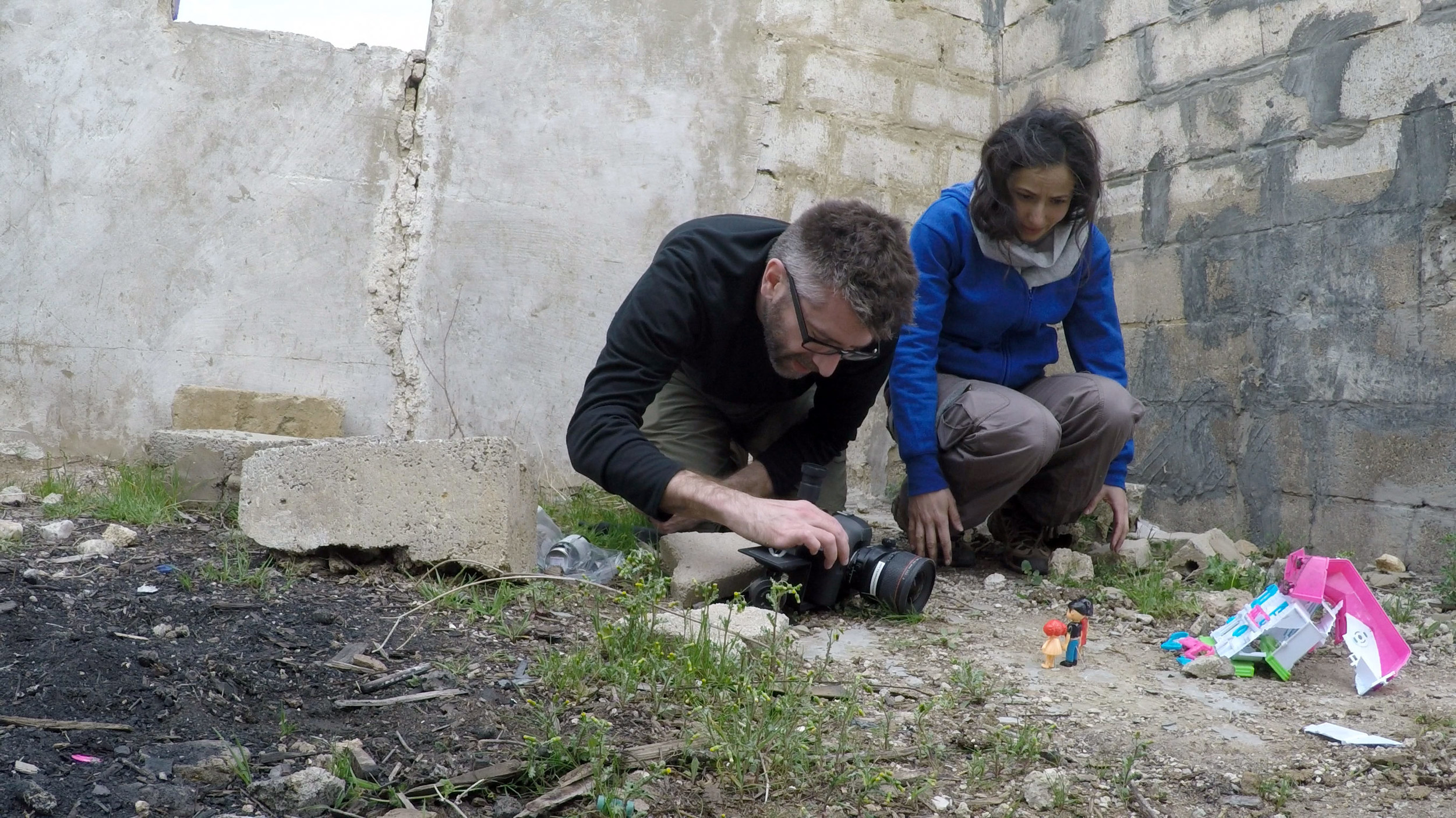 Working alongside Myra Saad at a location just down the road from the Kayany Foundation's Malala Yousafzai School near the Syrian border.