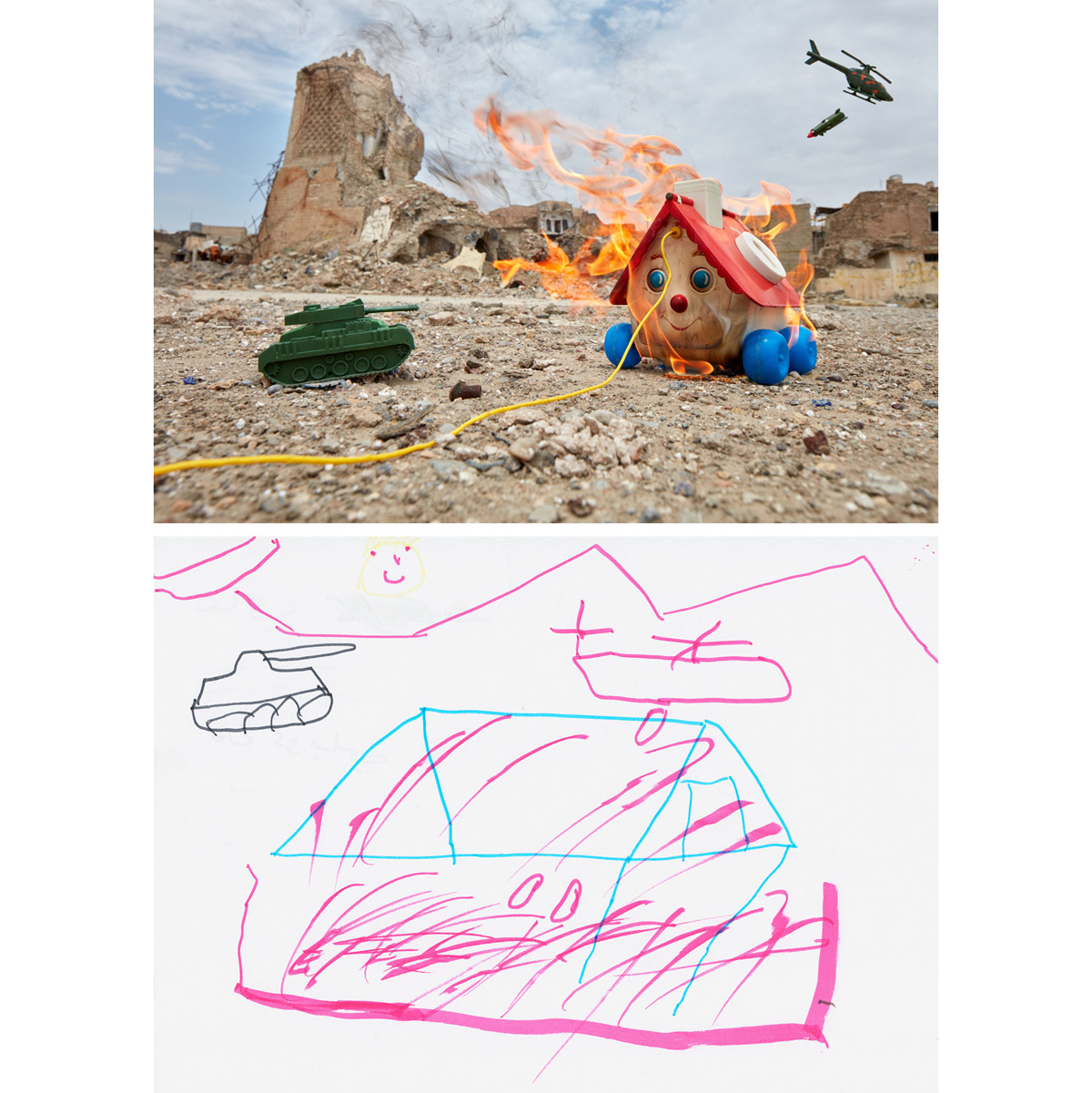 Left Home - West Mosul, Iraq20189-year-old Ali made a drawing of his home. He told the art therapist that the house had saved him and his family, but after it was destroyed in the fighting, they'd had to leave. A well-used Fisher-Price Goldilocks & the Three Bears Playhouse from the late 1960s was found in a toy stall at the Langa Bazaar in Erbil, Iraq. Cleaned out from a U.S. attic and collected by a charity, it had been bundled with other used toys and sold by the container-full to secondhand vendors in Iraq. The pull-toy house, threatened by a plastic tank and helicopter, was photographed at the remains of the Great Mosque of al-Nuri in West Mosul, where the Islamic State had declared their caliphate a few years before—close to where Ali's own home had once stood.