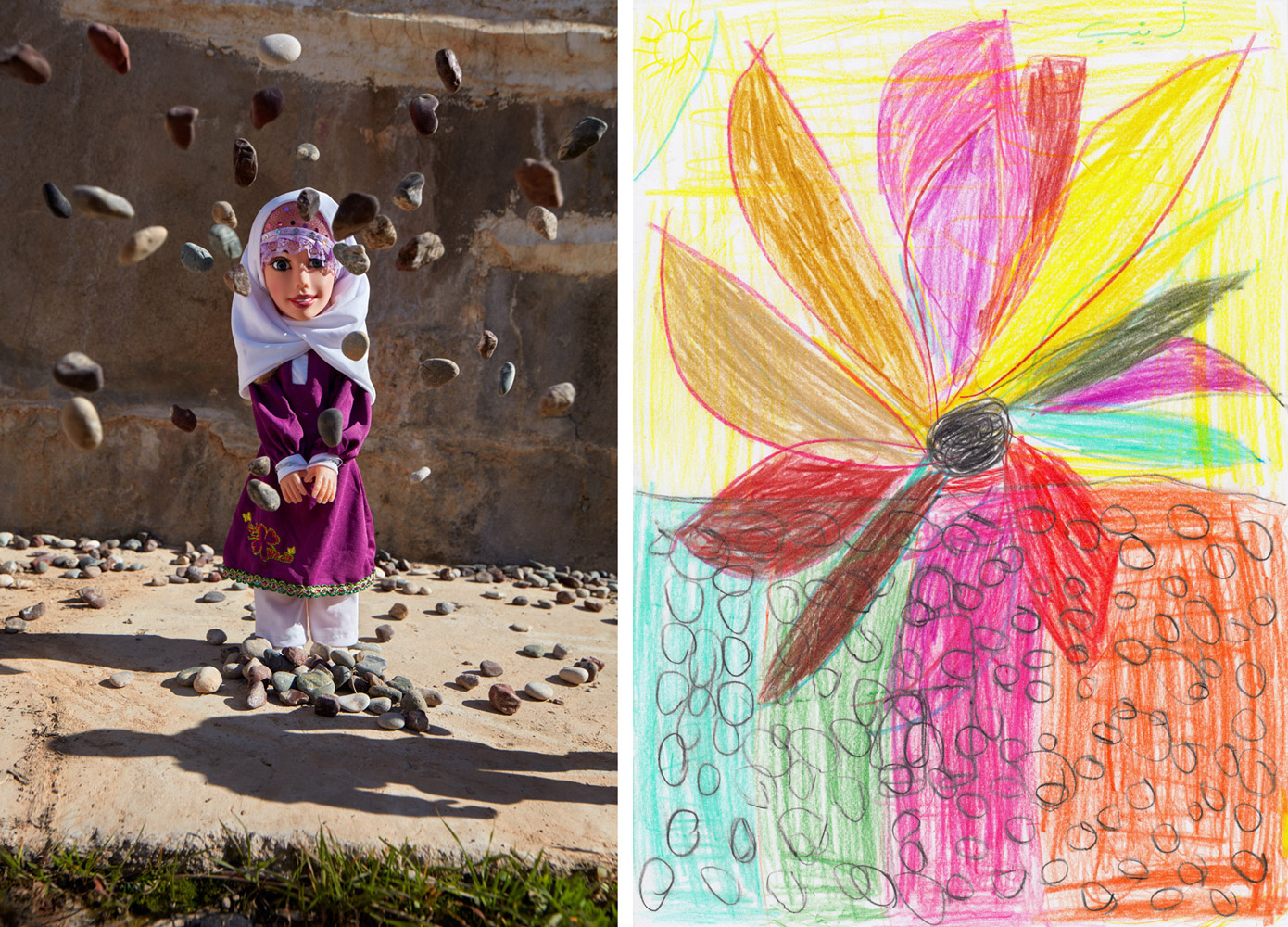 Stoning - Hassansham, Iraq2017It's not immediately apparent from her drawing, but an Iraqi girl named Zaina is sharing an account of watching a woman being stoned to death for not wearing approved attire under ISIS rule. In an art-based interview conducted with support from TdH Italia inside an IDP Camp near Mosul, Zaina first drew a woman at the bottom of the page, the outline of her can still be seen despite the stones that Zaina later covered her with. Revealing the story to Art Therapist Myra Saad, Zaina said that she'd like to give the stoned woman a flower and proceeded to draw one on top and fill in colors to cover up the scene of death. The resulting photo focused on the stoning and was created in the deserted and largely destroyed town just outside of the girl's camp, located approximately 30km from Mosul.