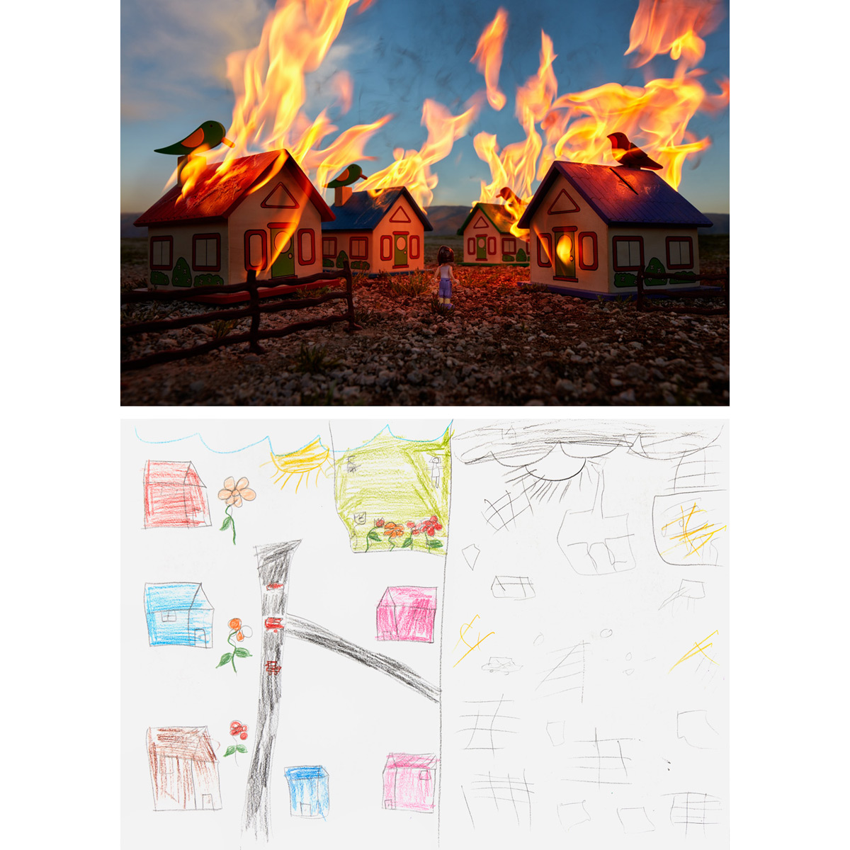 "Burning Neighborhood - Bekaa Valley, Lebanon2016At the Kayany Foundation's Malala Yousafzai School for Syrian Refugee Girls in Lebanon, ""Alya"" drew a before-and-after scene of her neighborhood in Aleppo. She talked about how peaceful and beautiful it was before burning and being destroyed by the war. The little music-box houses were found at a shop nearby, sold cheaply because the songs they played were so distorted. They were photographed with other local toys near Alya's refugee camp along the Lebanon-Syria border."
