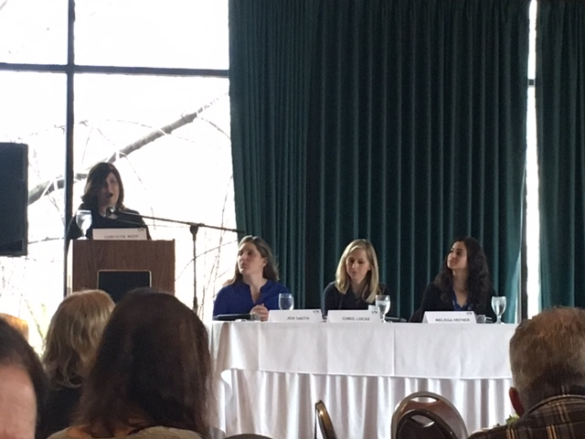 Chrystie Reep leads the panel discussion.
