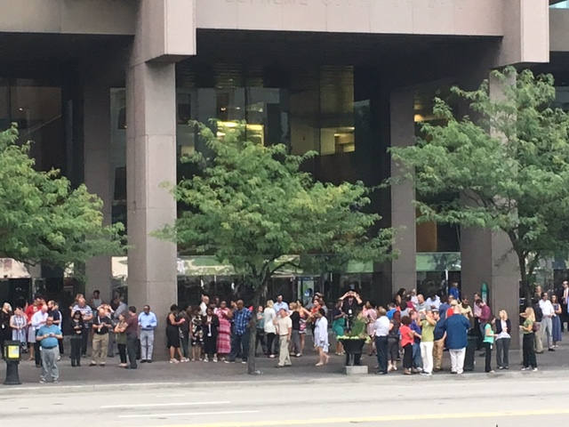 The scene outside the Rhodes Office Tower in downtown Columbus at 2:35pm, August 21, 2017.