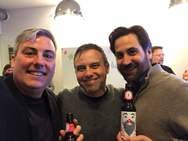 Celebrating with Vince Campise (center) and Andrew Summerfield at last night's event.