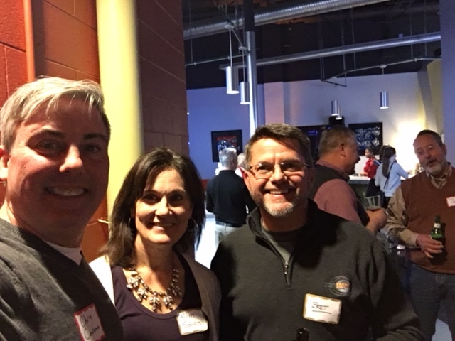 Kim Savon  (center),  Bret Icenhower, President at Brainstorm Media  and I celebrating their 20th Anniversary. Once the three of us took a look at this pic, it was pointed out that there are two professional photographers behind us. They had gone officially on a holiday break.