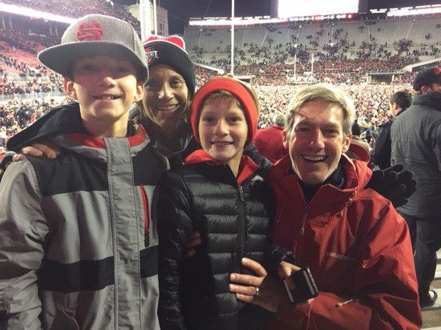 Matt Johnson, Advertising Director with Safelite AutoGlass and his family celebrating a victory!