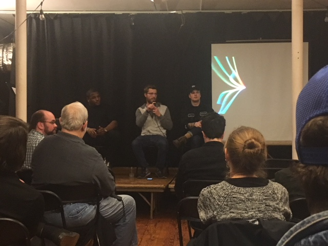 Last night's speakers on stage. L to R: Dionte, Zach, Chase