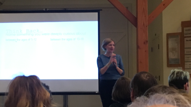 """Cindy Meyers Foley presents her talk on """"Curiosity"""" this morning at the  Amelita Mirolo Barn  in Upper Arlington."""
