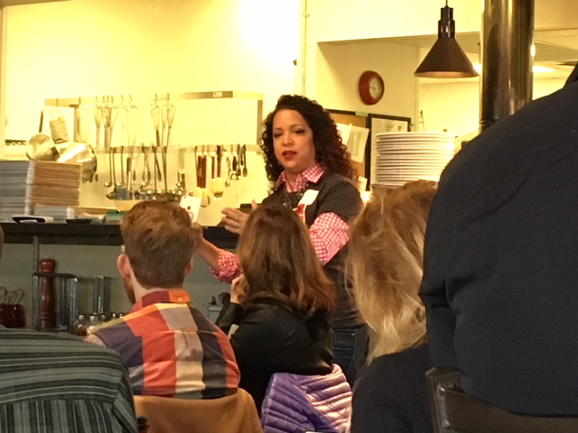 "Sandra Lopez sharing her thoughts on ""Courage"" at  Pat & Gracie's  in downtown Columbus."