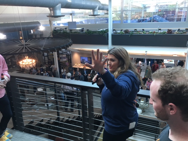 Mikaela Hunt  addressing last night's crowd at the Opening Day Kickoff Party.