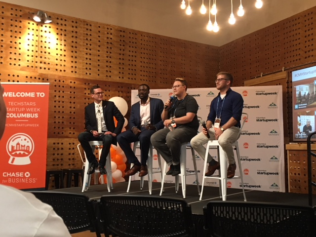 The Business of Podcasting panel on stage today at Vue.