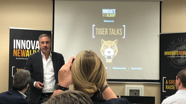 Bill Troy presenting his Tiger Talk at Innovate New Albany last Friday.