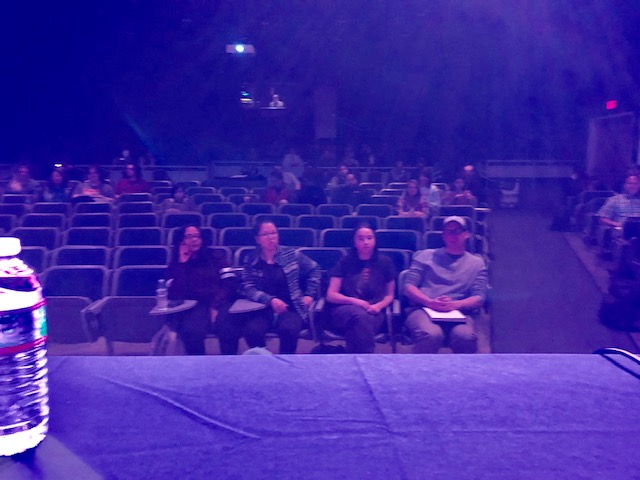 Here's a shot of the audience from the panelists' table. I'd like to think that the four in front got the most out of last night's program.