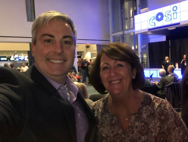 Kathy Gill, Publisher of CityScene Magazine and I at tonight's launch party at COSI.