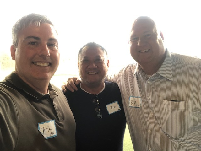 Myself, Ron Palanca, Owner of Palanca & Associates (one of the day's sponsors) and Pete Armstrong, Regional Vice President at Advisors Asset Management at Topgolf at Polaris today in Columbus.