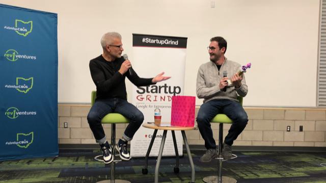Ryan Frederick (L) and Ilya Bodner at tonight's Startup Grind.