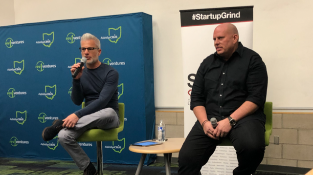 Ryan Frederick (Left) and Troy Allen at tonight's Startup Grind Columbus held at Rev1 Ventures.