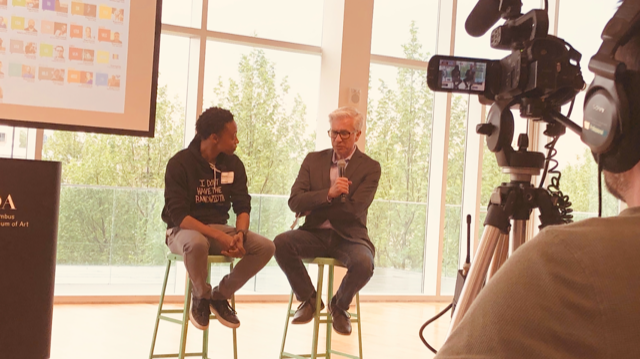 "Krystopher Scott (L) and David Staley, Host of Creative Mornings Columbus discuss the theme, ""Preserve."""