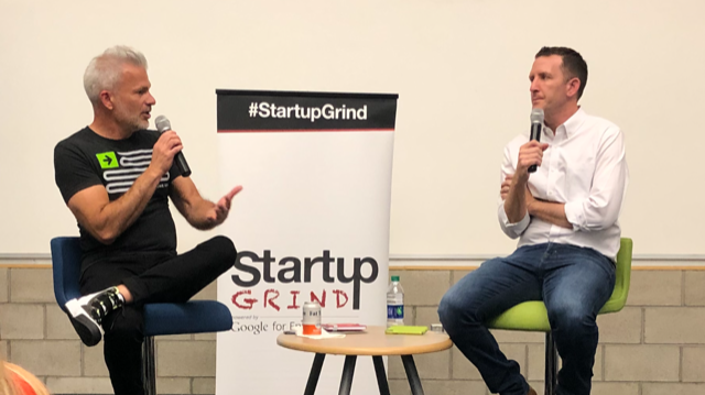 Ryan Frederick, Host of Startup Grind (L) and Doug Ulman, President/CEO of Pelotonia at Rev1 Ventures last Monday.