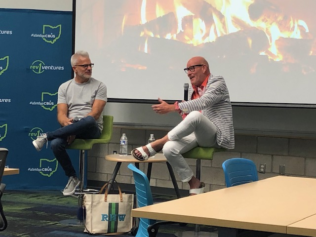 Ryan Frederick, host of Startup Grind Columbus (L) interviewing Rick Harrison Wolfe, Executive Director of the North Market.