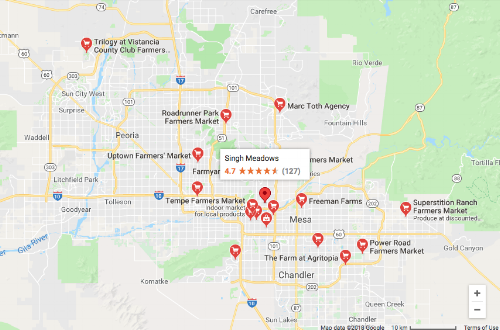 """A google maps search is an easy way to find local farmer's markets in your area. Just type """"farmers market"""" in the search bar to give it a try!"""