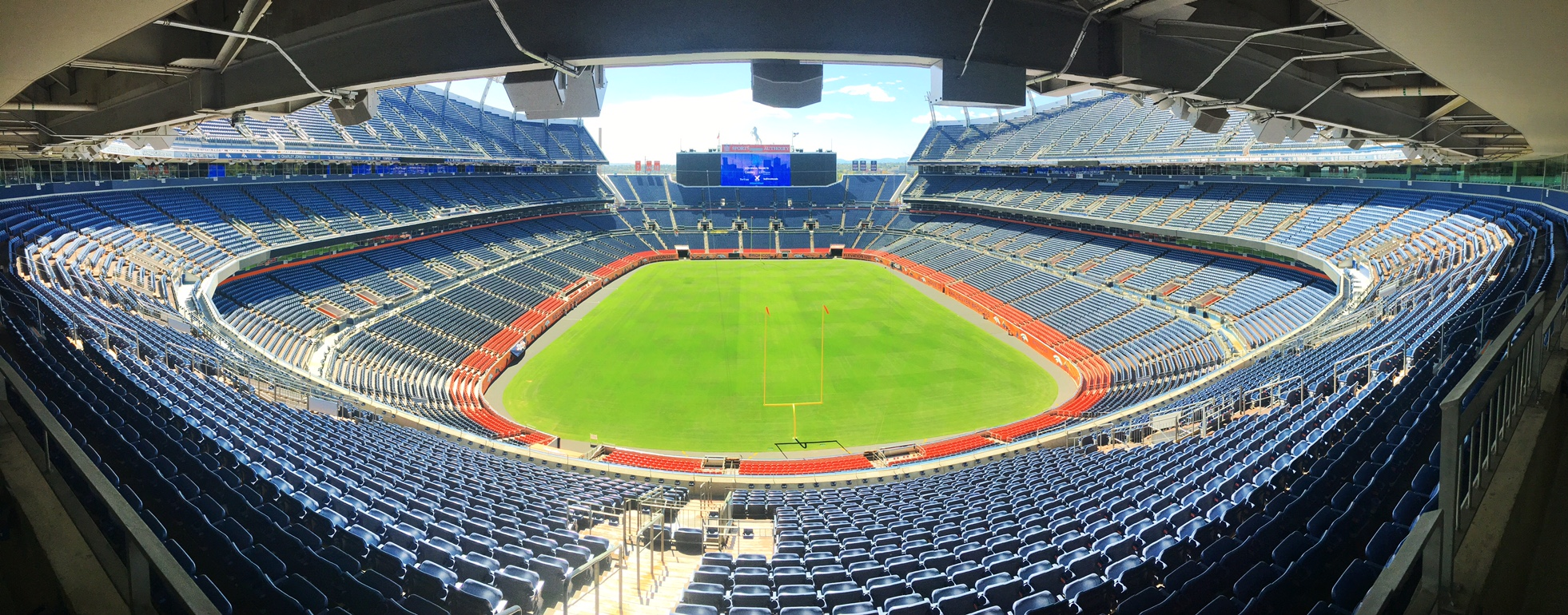 The tour stopped for lunch at the Bronco's stadium.