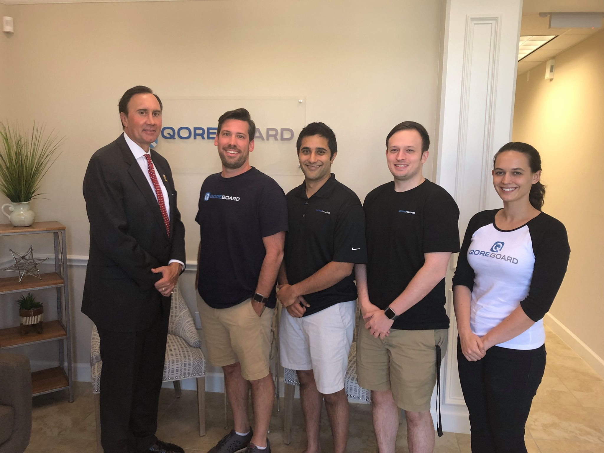 Rep. Pete Olson (R-Texas) and the team from QOREBOARD celebrating Congressional Startup Day.