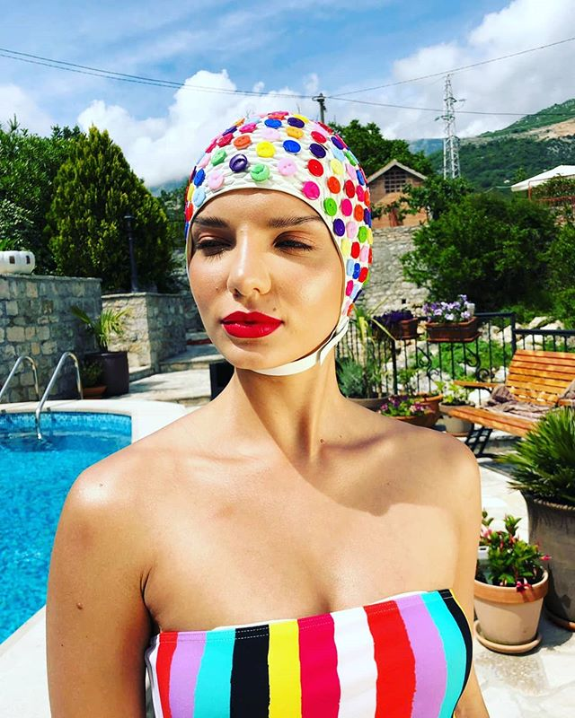 🔵🔴⚪Branching out with Buttons 🔵🔴⚪ A fun project customising swim caps for my recent shoot in Montenegro 🌟  #thehatologist #hatology #victoriawright #stylist #styling #style #fashion #stylistlife #millinery #hats #headpieces #bespoke #swimcaps #buttons #model #location