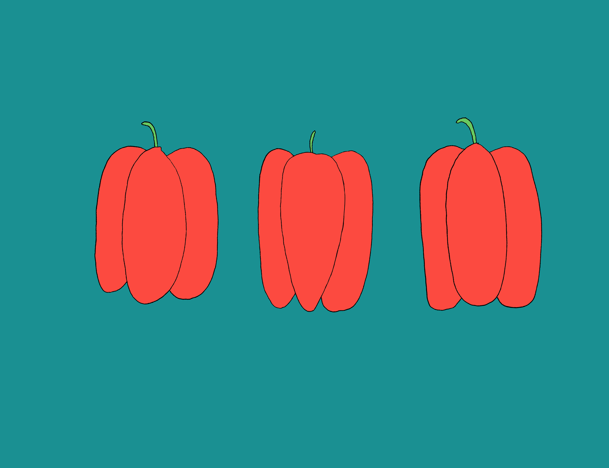 Red Peppers Illustration by Emma Freeman Designs