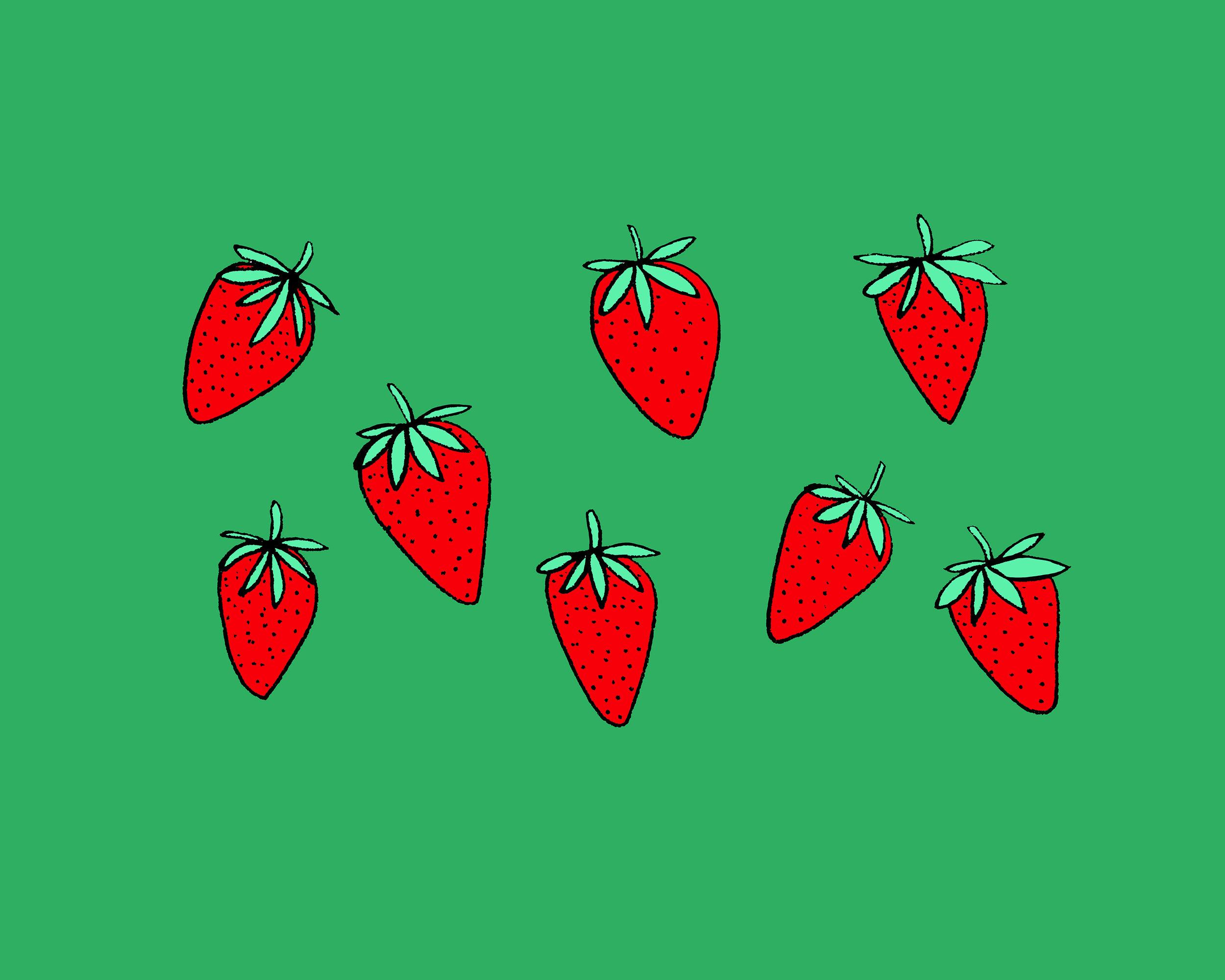 Strawberries Illustration by Emma Freeman Designs