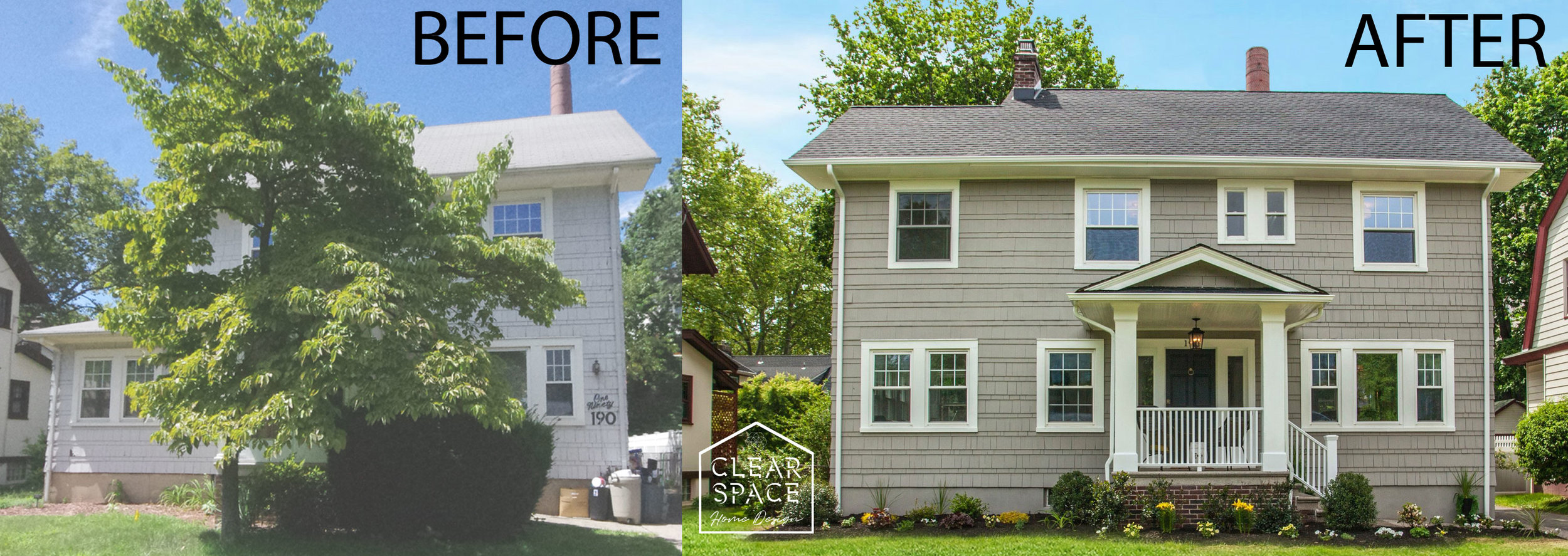 Here's a before and after of the exterior at 190 Sherman Avenue in Glen Ridge, NJ.  We removed the huge tree that completely blocked the front porch to create a welcoming entry.  We also added a second story addition to create a luxurious master bath and walk-in closet.