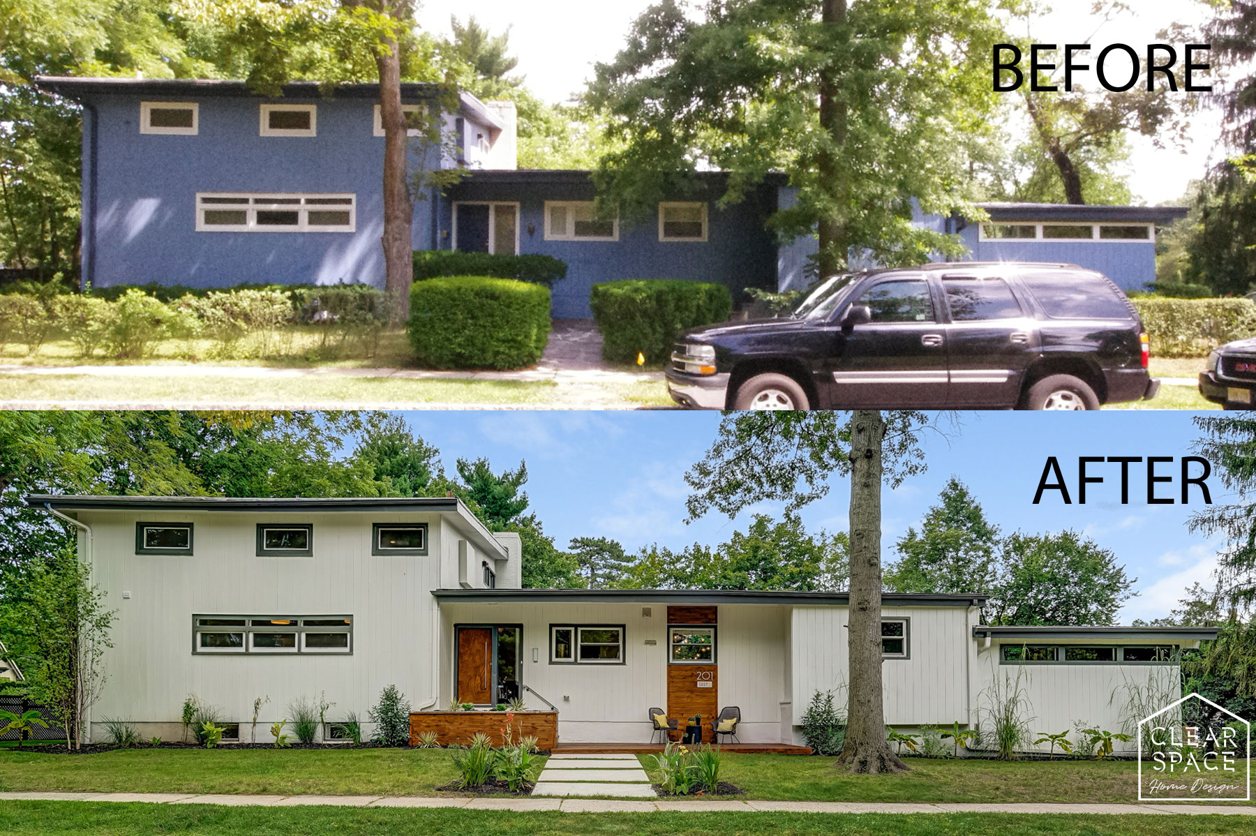 "Here's the before and after on the ""Big Blue Beast"" as we affectionately called it when we bought it.  The first thing to go was the bold blue color for a more neutral white/charcoal gray color scheme.  We spent a lot of time, money and energy to bring a California cool to this suburban NJ gem."